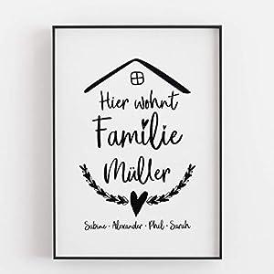 Familie Geschenk zum Einzug Muttertagsgeschenk Hier wohnt Geschenkidee Mama Papa Zuhause Heimat Geschenk zur Geburt Kunstdruck – ungerahmt