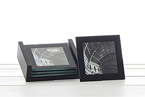 4 Glass Coasters Gift Set in Black Stand - Insert Your Own Photos - Match Your Own Decor - Perfect Wedding, Home Move or Occasion