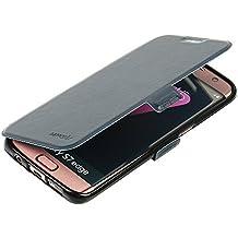 Coque Samsung Galaxy S7 Edge, MTRONX Case Cover Etui Housse Cas Couverture Portefeuille Ultra Slim Folio Flip Magnetic Prime PU Cuir Doux TPU Soutien étagère Fente pour Carte pour Samsung Galaxy S7 Edge - Bleu Foncé(MSC-DB)