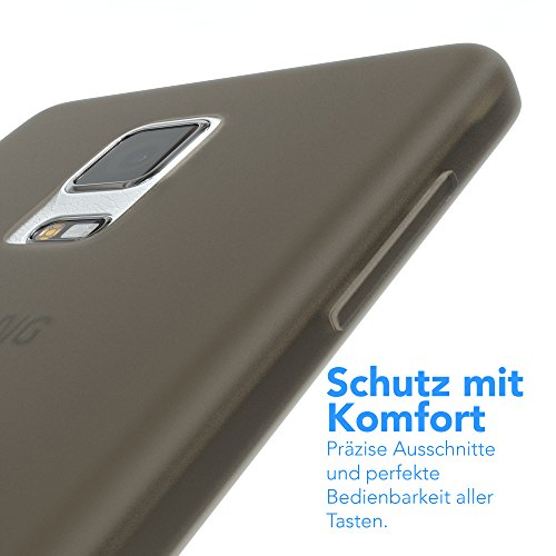 Samsung Galaxy Note 4 Hülle - EAZY CASE Ultra Slim Cover Handyhülle - dünne Schutzhülle aus Silikon in Transparent Matt Schwarz / Anthrazit