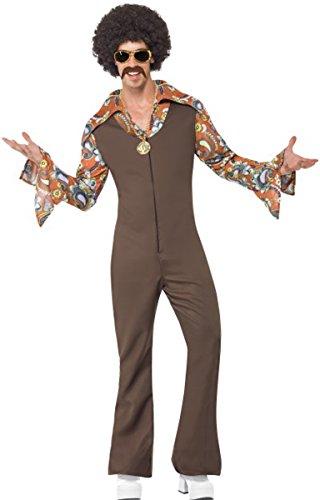 70's Disco Fancy Kleid Groovy Boogie Kostüm Komplettes Outfit Braun (Groovy Disco Für Erwachsene Herren Kostüme)
