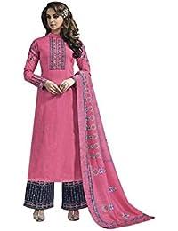 Vasu Saree Pink Embroidered Banarasi Silk Party Wear Palazzo Salwar Suit