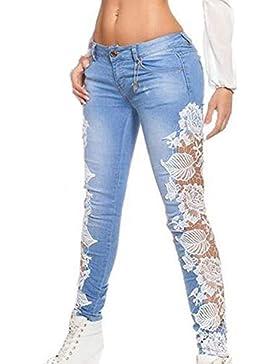 Mujeres Casual Vaqueros Joven Moda Hueco Encaje Costura Denim Pantalón Skinny Jeans Lápiz Largo Pants