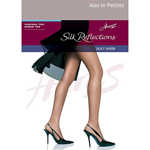 Hanes Silk Reflections Control Top Sheer Toe Pantyhose Soft Taupe