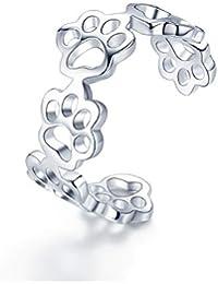 Anillo de plata de ley 925 con huellas de gato y perro, ajustable, para mujer, fiesta,…