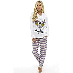 Pijama Mujer Chica 100% Algodón Set Mickey Mouse Minnie Mad Catz Tallas 36-50 (M 40-42, rayas moradas con capucha)