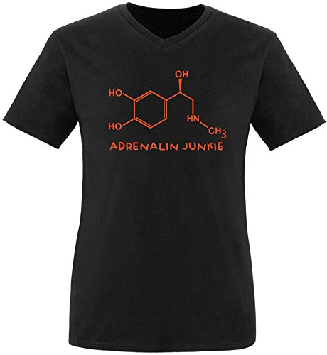 EZYshirt® Adrenalin Junkie Herren V-Neck T-Shirt Schwarz/Orange