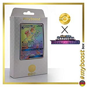 Lucario-GX 135/131 Arcoíris Secreta - #myboost X Sonne & Mond 6 Grauen Der Lichtfinsternis - Box de 10 Cartas Pokémon Aleman
