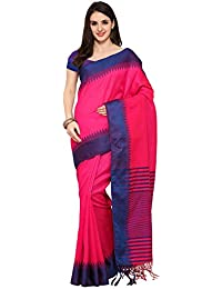 Women's Tassar Silk Traditional Saree Unstitched Blouse Design (KABALI HOT PINK BLUE_Pink And Blue)
