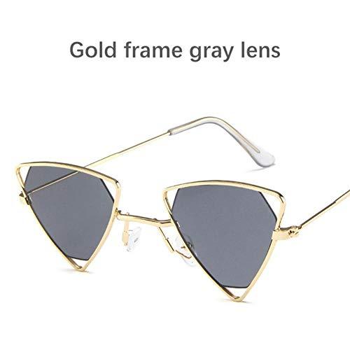 Loving Bird 2019 Steampunk Sonnenbrille Damen Vintage Kleine Sonnenbrille Herren Markendesigner Triangle Sunglass Metallrahmen Punk Summer Brille, Gold-grau