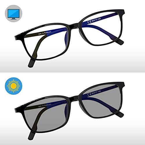 Pixel Lens Sunny Fotocromatische Brille für PC, TV, Tablet, Gaming. Gegengewicht Augen, maximal Comfort VISIVO, Leichter Rahmen, Blaue Lichter, 41% und UV - 100% Universitätstests SUNNYDARK