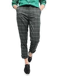 Allegra K Hommes Vintage Plaid Contrôles Fenêtre Vitrée Gabarit Tissés Teinté Plat Avant Pantalon