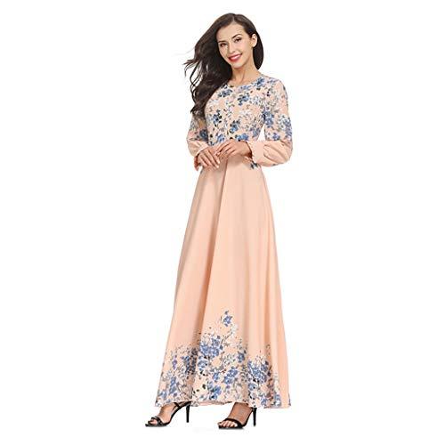 c391aa9a38 RISTHY Musulmana Vestidos Largos Suelta Estampado Floral Musulmán Abaya  Dubai Turquia de Invierno Maxi Vestido Islámica