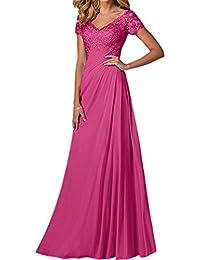 La Marie Braut Blau Elegant Spitze Chiffon Kurzarm Brautmutterkleider  Abendkleider Partykleider Lang A-Linie Rock f3467b90e1