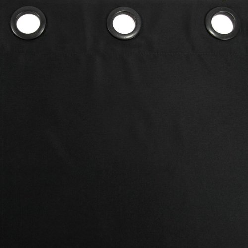 DOUCEUR D'INTERIEUR  - 1600833, Cortina Con Anillas, 140 X 260 Cm, Essentiel, Poliéster Liso, Negro