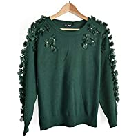 2e3730d656 CY floral and crystal stone diamond embellished shoulder Sleeves knitted  jumper wool blend
