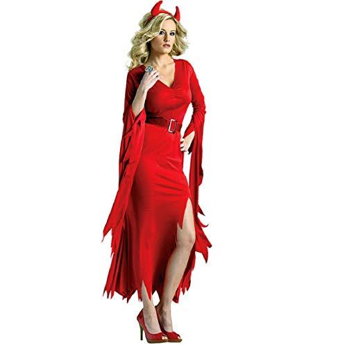 Bluelucon Damen Schaurige Hexe Kostüm Abendkleid Spitze Kleid Verkleidungsparty mit Hut Halloween Kostüm Damen Hexe Sexy Cosplay Karneval - Schaurige Kinder Kostüm