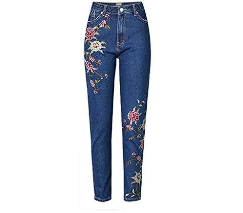 Wgwioo Femmes Jeans Haute Taille Denim Pastoral Wind 3D Broderie Fleurs Slim Pencil Trouser Zipper Pantalon Leggings . Deep Blue . 38