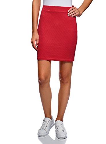 oodji Ultra Damen Jersey-Rock Basic, Rot, DE 34 / EU 36 / XS