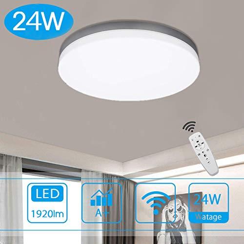 LED Deckenleuchte Dimmbar mit Fernbedienung, 24W Wohnzimmerlampe Decke, Super Dünn für Wohnzimmer, Schlafzimmer, Kinderzimmer, Küche, Bad, Balkon
