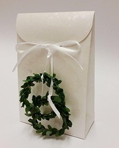 Gastgeschenke für Hochzeit Feste Tasche edel 8 Stück mit 2 Buchsbaum Ringen (Buchsbaum Hochzeit Ring)
