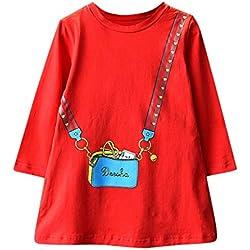 Baiomawzh Vestidos de Fiesta para niñas Manga Larga Gasa Falda de la Camisa Casual Moda Bolsa Impresión Vestido de Princesa Vestido para Bebe niña Invierno Dress para 6-7 años