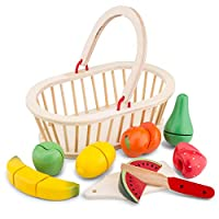 New Classic Toys Wooden Pretend Play Toy for Kids Cutting Meal Fruit Basket Cooking Simulation Educational Toys and Color Perception Toy for Preschool Age Toddlers Boys Girls