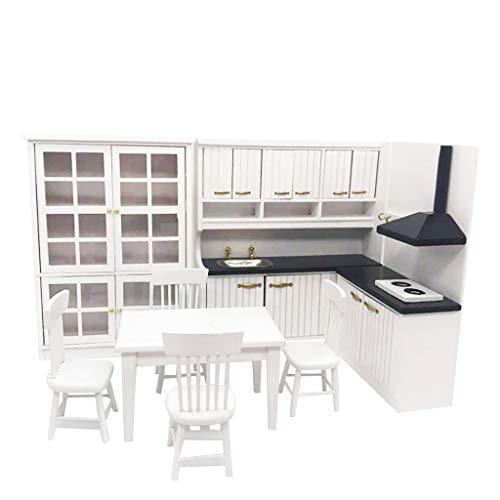 ToDIDAF Puppenhaus Zubehör Küche eingerichtet Mini Küche Esstisch und Stuhl Schrank Set 1:12 Hölzerne weiße Puppenhaus Miniaturmöbel, Lernspielzeug für Kinder