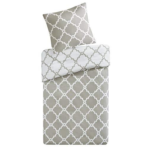 SCM Bettwäsche 135x200cm Grau Karos 2-teilig Bettbezug & Kissenbezug 80x80cm Geometrisch Ideal für Schlafzimmer Merritt (Blumenmuster Bettwäsche)