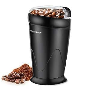 Aigostar Breath 30CFR - Macina caffè elettrica a doppio contatto con lame in acciaio inossidabile, Macina chicchi di caffè, spezie, frutta a guscio e grano, coperchio trasparente, capacità di 60g, 150 Watt, BPA Free, Nero.