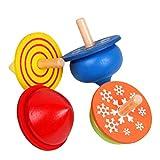 STOBOK 4 stücke Kinder Kleinkinder Lernspielzeug Holz Handmade Spinning Top Farbe Gyro für Jungen Mädchen