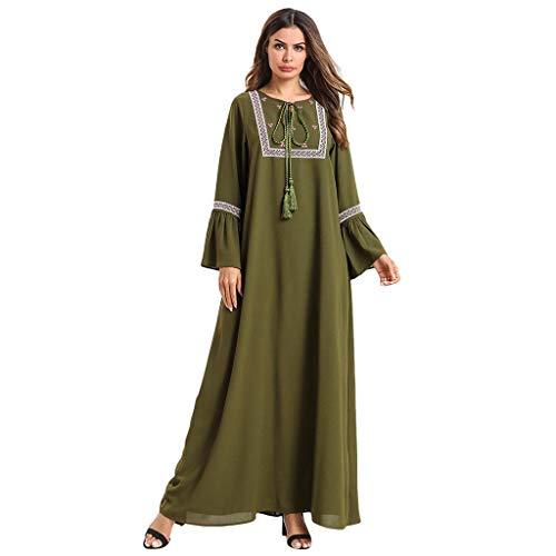 Mymyguoe Muslimische Frauen Roben einfarbig langes Kleid langärmelige bestickte Roben Formale Modem...