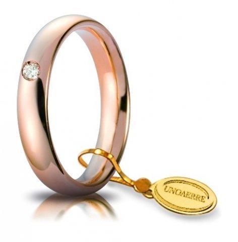 Fede Nuziale Unoaerre Comoda da 4 mm oro rosa 18kt con 1 diamante dal n. 8 al n. 19