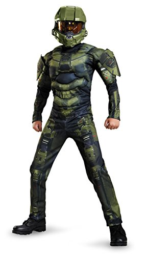 Disguise Master Chief Classic Muscle Costume, Medium (7-8)