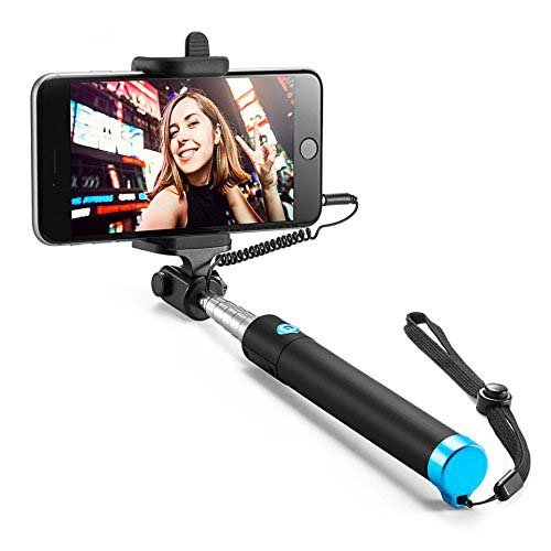 probeatz Compact Extendable and Foldable Wired Selfie Stick Aux Cable {with New Logo}(No Bluetooth or Battery) for all Mobile Phones