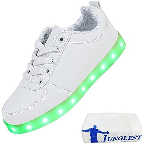 (Presente:pequeña toalla)JUNGLEST® LED Light 7 color Shoes zapatillas para hombre USB carga de techo luces intermitentes de calzado de deportes zapati