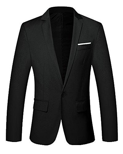 Uomo elegante casual one button vestito di affari cappotto giacca blazers outwear nero 2xl