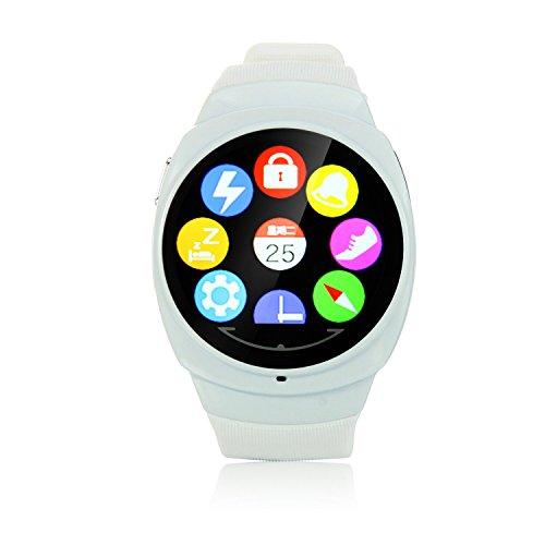 Uwatch Uo 3,7cm touch screen BT 4.0Smart Watch supporto cardiofrequenzimetro, contapassi sonno monitor telecomando immagini, anti-perso funzione-bianco