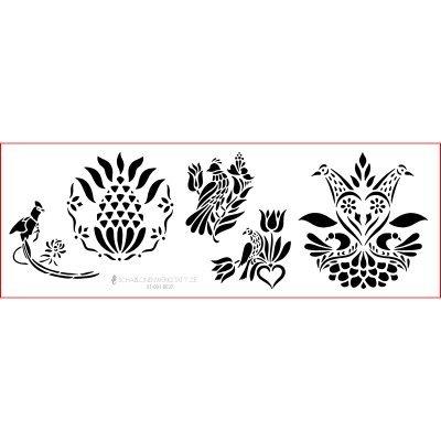 Schablone Shabby Chic Kreativbaukasten, 01-001-0037, Vogel Herz als Wandschablone, Textilschablone,...