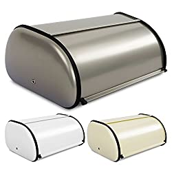 casa pura® Brotkasten Bernd | lebensmittelechte Brotaufbewahrung | Brotbox mit Belüftungslöchern | 3 Farben (hellgrau)
