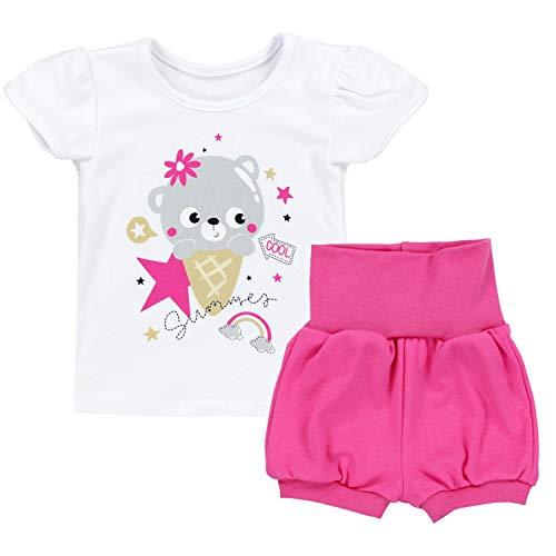 TupTam Baby Mädchen Sommer Bekleidung T-Shirt Shorts Set, Farbe: Bärchen mit EIS/Weiß/Pink, Größe: 68/74 (Baby Mädchen Bekleidung Sets)