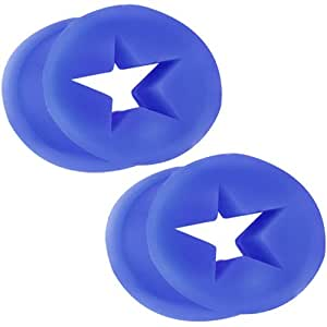 FreshTrends 00G - Blue Star-Shaped Cut Out Flexible Silicone Tunnel Plugs - Pair