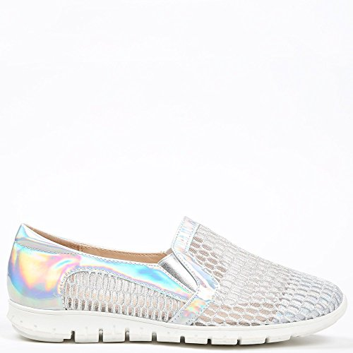 Ideal Shoes – slip-on Durchbrochenes Evora Silber - silber