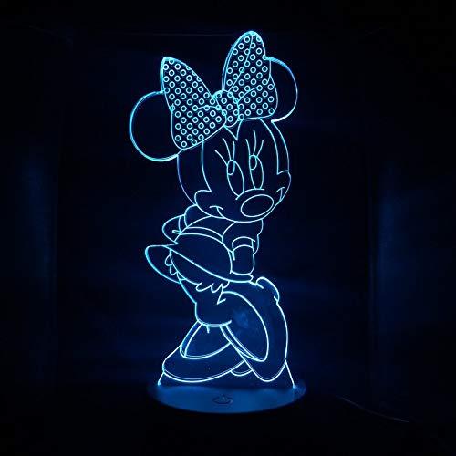 Cartone animato Minnie baby night light 3D illusione Sensore di tocco USB luce atmosfera camera da letto decorazione ragazza regalo lampada da tavolo lampada da comodino