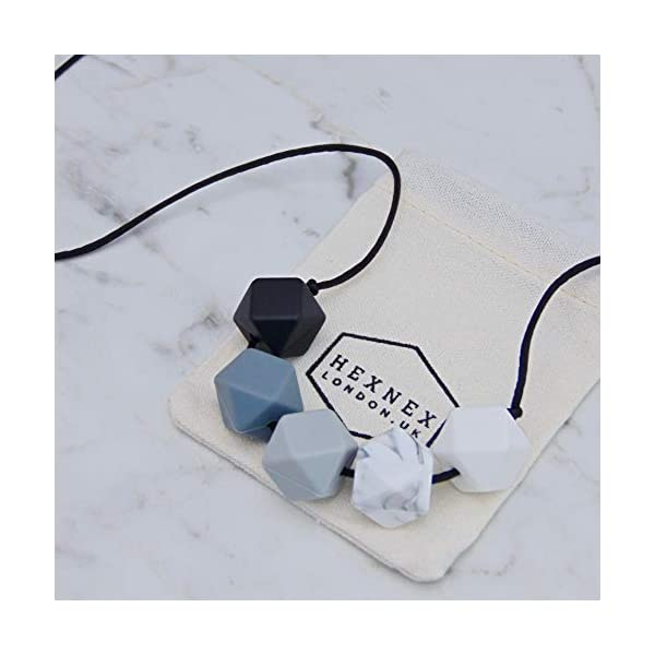 Monochrome Silicone Teething Necklace for Breastfeeding and Baby Wearing Nursing Jewellery BPA Free Hexagon Bead Black and White 1