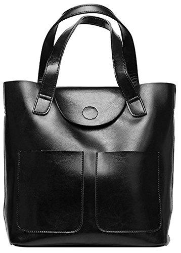 Xinmaoyuan Sacs à main pour femme Sacs à main en cuir sac Kraft Cire Huile épaule Sac à main unique Black