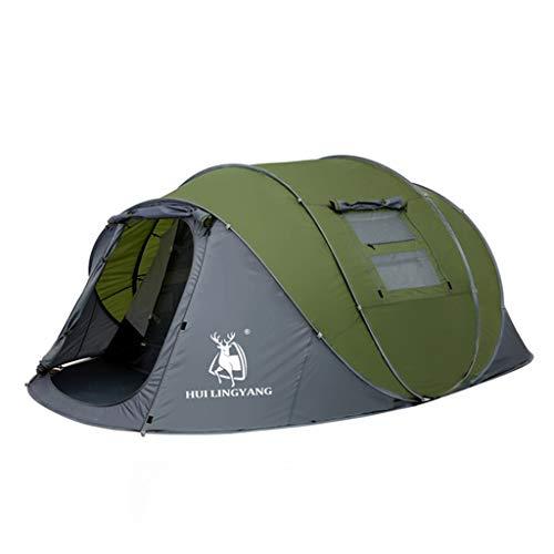 ILYFEY Pop-Up-Zelt, Tragbares Zelt Für 3-6 Personen, Winddicht, Wasserdicht, Lüftung, Moskito Camping,DarkGreen,doublelayer