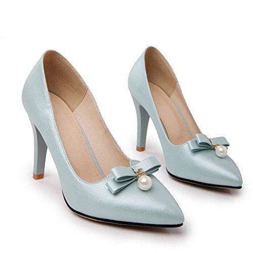 VogueZone009 Damen Weiches Material Ziehen Auf Spitz Zehe Stiletto Rein Pumps Schuhe Hellblau