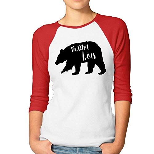 Women's Mama Bear Cut Baseball Raglan Jersey T-Shirts 3/4-Sleeve