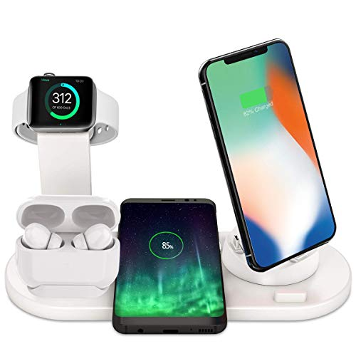 Bestrans Chargeur sans Fil Rapide, Support de Charge 4 en 1 pour Apple Watch 5/4/3/2, AirPods, iPhone 11/11 Pro Max/XS/XS Max/XR/X/8/8 Plus, Samsung Galaxy S10/S9/S9 Plus/Note 8 etc (Blanc)